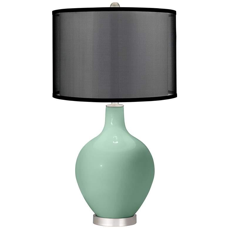 Grayed Jade Ovo Table Lamp with Organza Black Shade