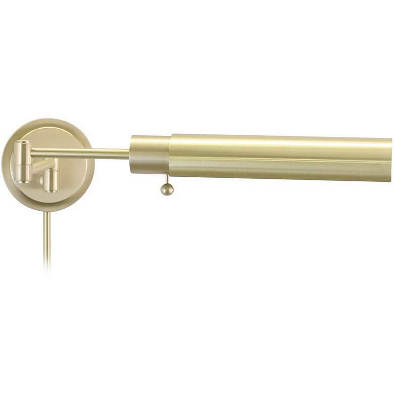 Satin Brass Round Head Plug-In Swing Arm Wall Lamp