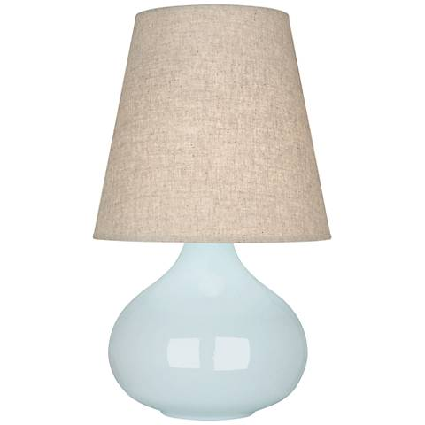 Robert Abbey June Baby Blue Table Lamp with Buff Linen Shade