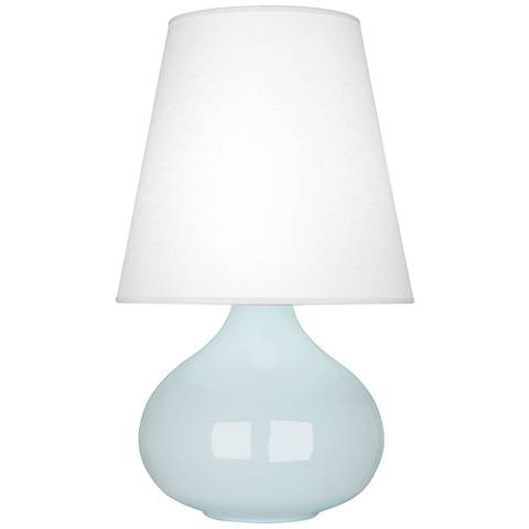 Robert Abbey June Baby Blue Table Lamp w/ Oyster Linen Shade