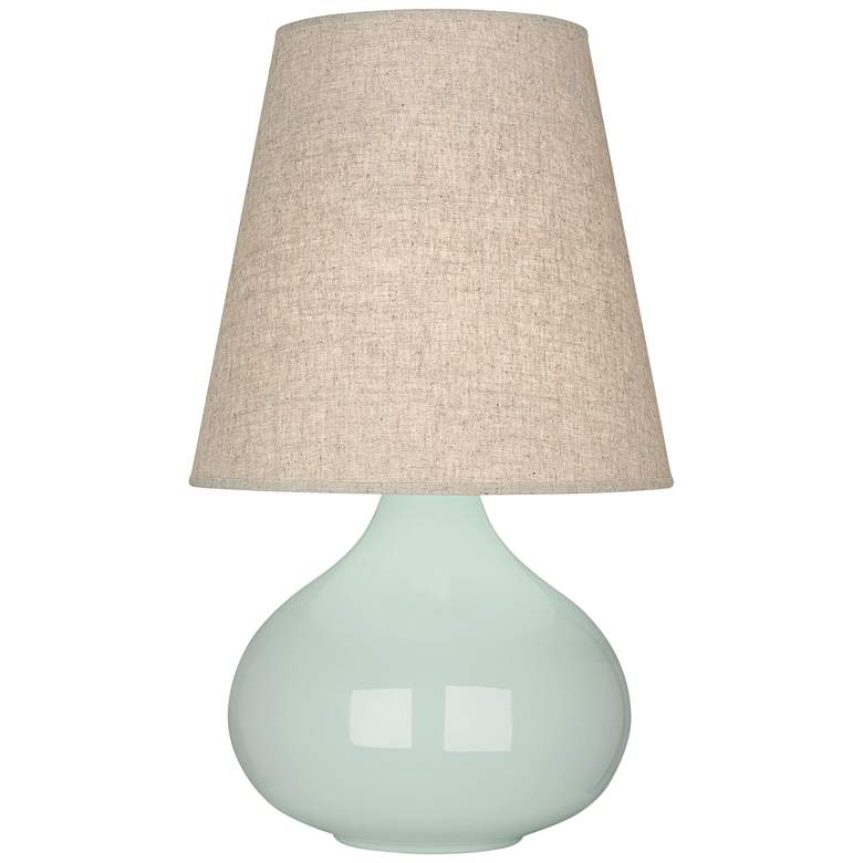 Robert Abbey June Celadon Table Lamp with Buff Linen Shade