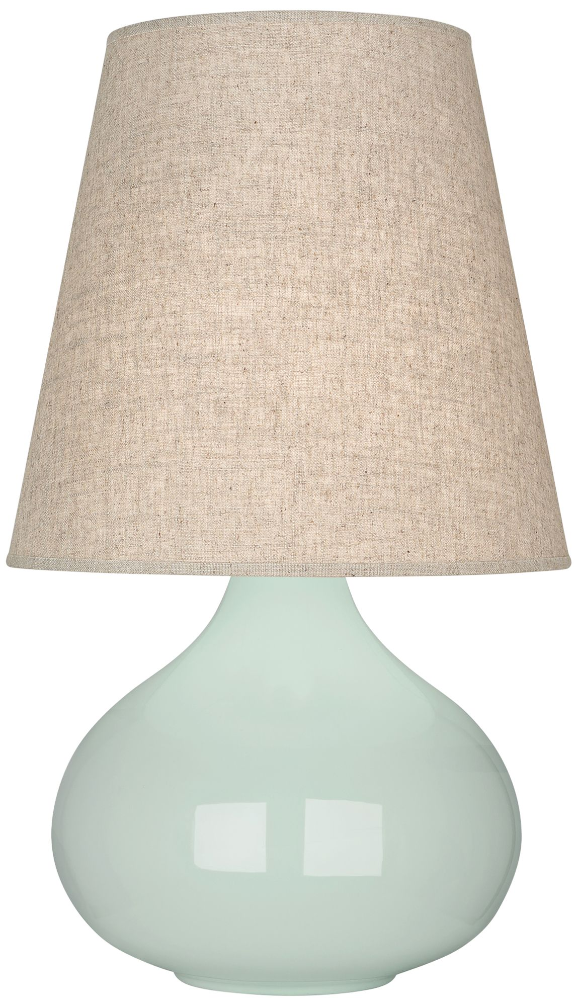 Robert Abbey June Celadon Table Lamp With Buff Linen Shade