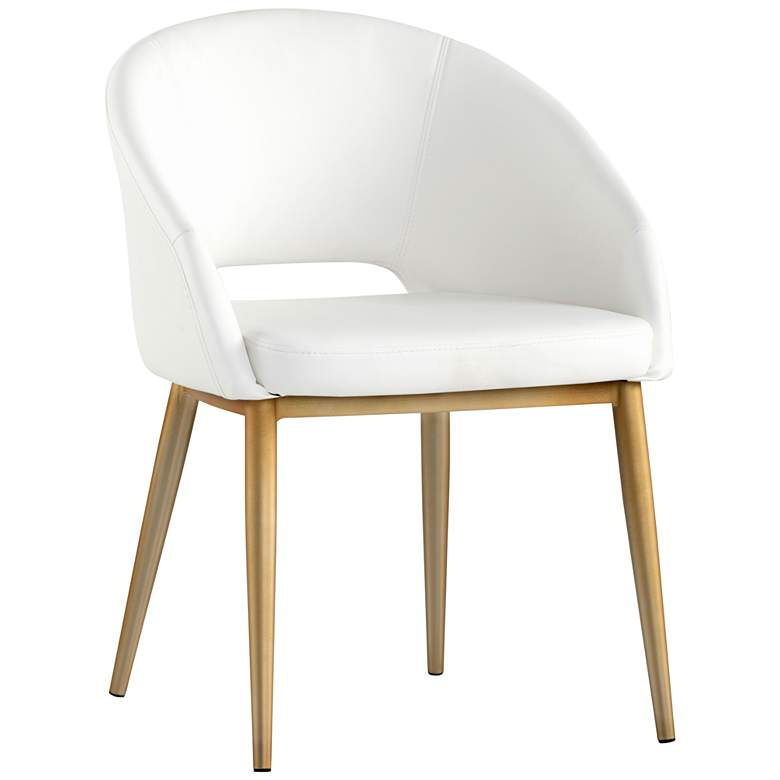 Thatcher White Faux Leather and Antique Brass Dining Chair