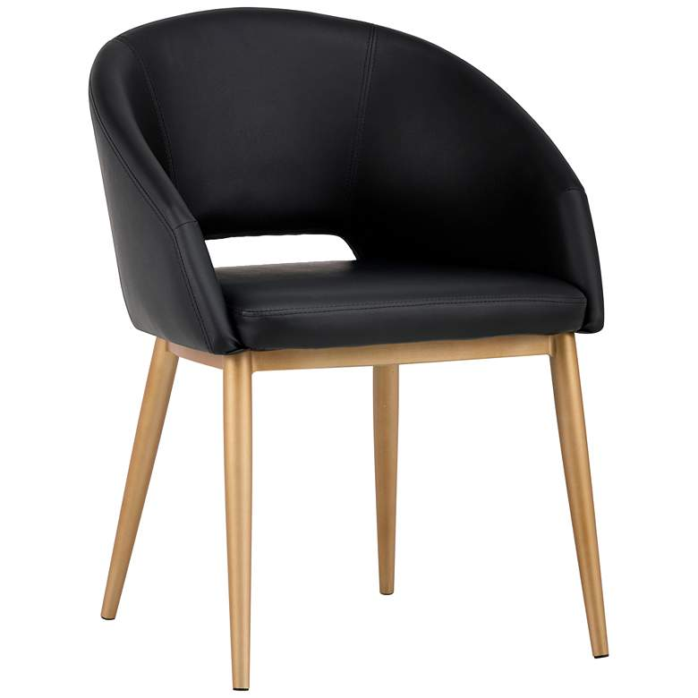Thatcher Black Faux Leather and Antique Brass Dining Chair