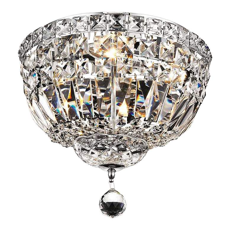 """Tranquil 12"""" Wide Chrome and Clear Crystal Ceiling Light"""