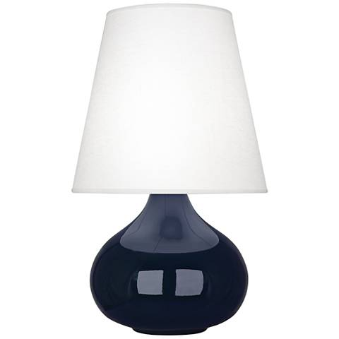 June Midnight Blue Accent Table Lamp w/ Oyster Linen Shade