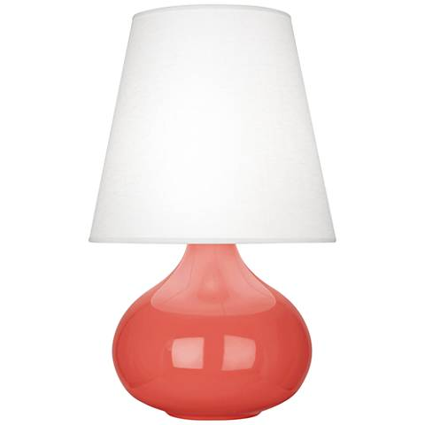 Robert Abbey June Melon Table Lamp with Oyster Linen Shade
