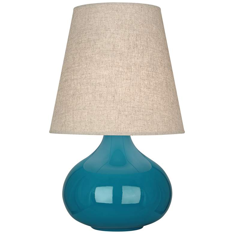 Robert Abbey June Peacock Table Lamp with Buff Linen Shade