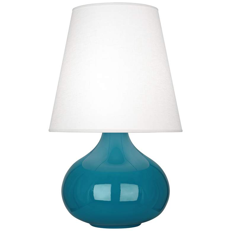 Robert Abbey June Peacock Table Lamp with Oyster Linen Shade