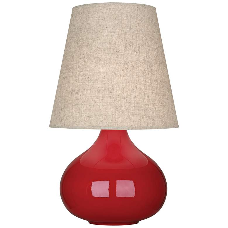 Robert Abbey June Ruby Red Table Lamp with Buff Linen Shade