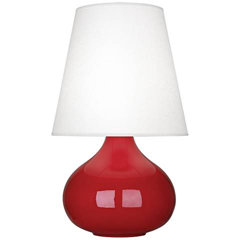 Robert Abbey June Ruby Red Table Lamp w/ Oyster Linen Shade