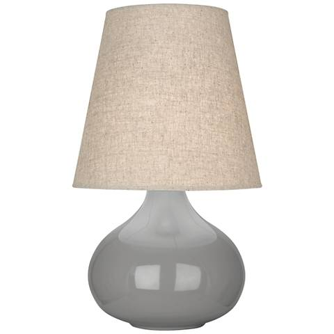 June Smokey Taupe Accent Table Lamp with Buff Linen Shade