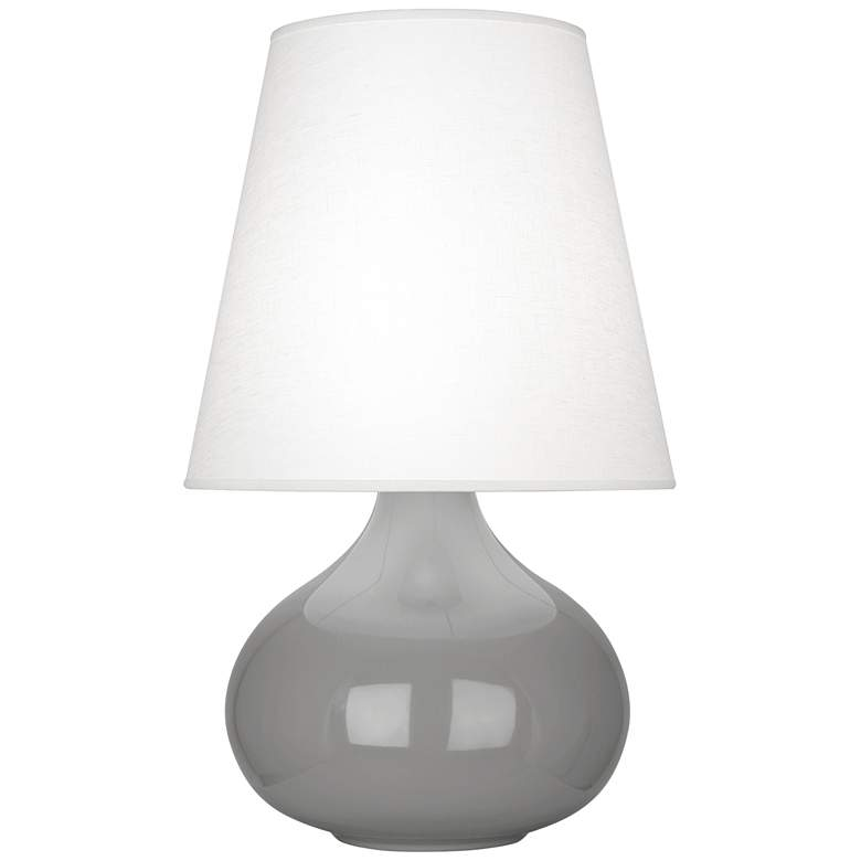 June Smokey Taupe Accent Table Lamp with Oyster Linen Shade