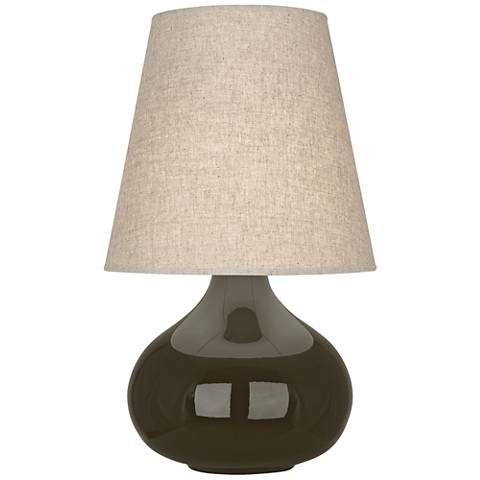 Robert Abbey June Brown Tea Table Lamp with Buff Linen Shade