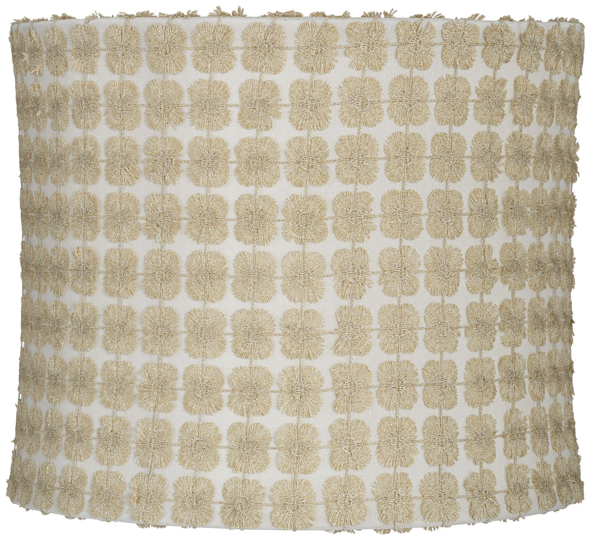 Merveilleux Edinburgh Gold Over White Drum Lamp Shade 12x12x10 (Spider)