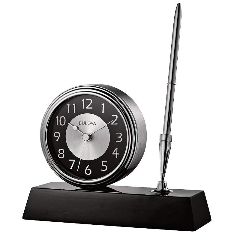 "The Signature Black 5 3/4"" Wide Clock and Pen Desk Set"