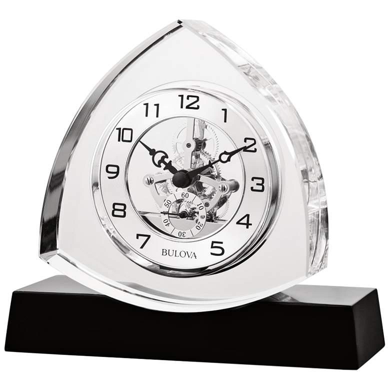 "Bulova Trident Crystal Glass 6 3/4""W Skeleton Table Clock"