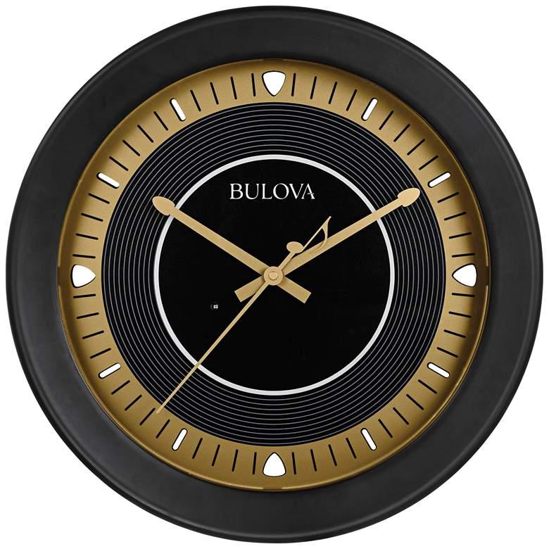 "Long Play Satin Black 18"" Round Bluetooth Outdoor Wall Clock"