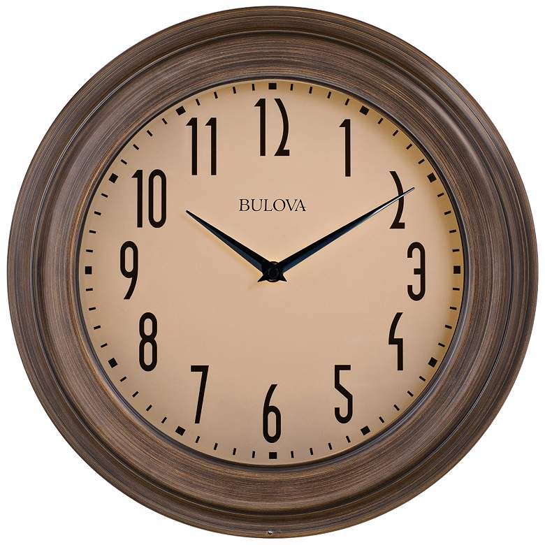 "Bulova Beacon Multistep Dark Wood 14"" Round Wall Clock"
