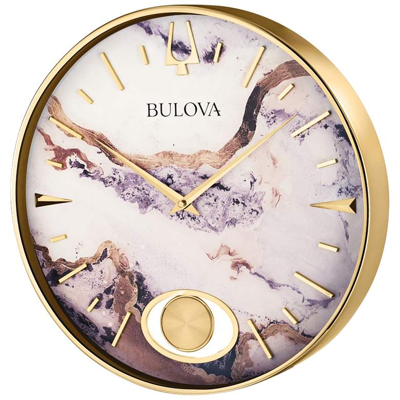 "Stonemont Gold and Natural Marble 15 3/4""Round Wall Clock"