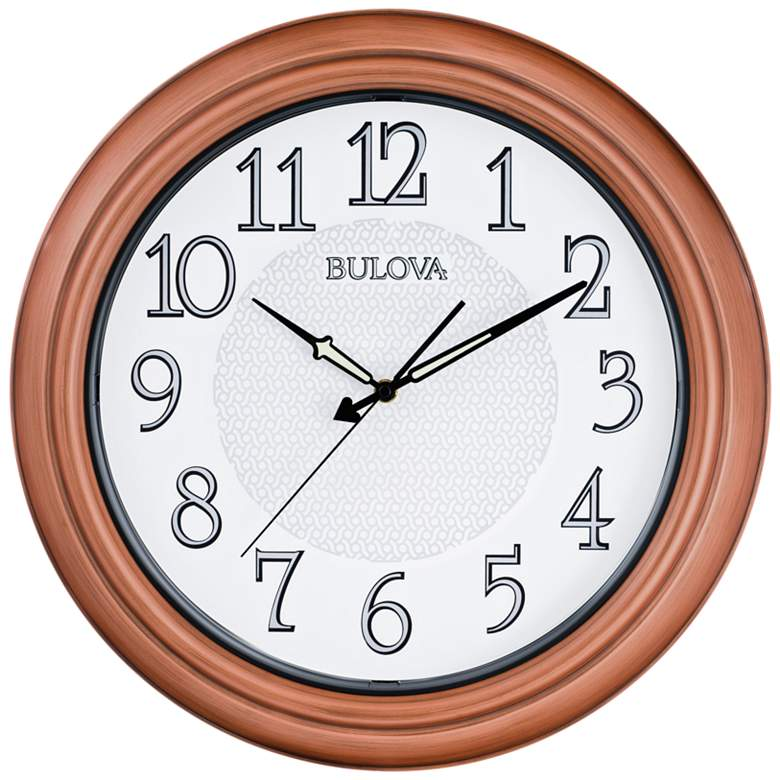 """Bulova Providence Aged Copper 18"""" Round Outdoor Wall Clock"""