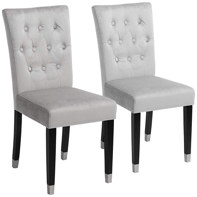 Argyle Light Gray Tufted Armless Dining Chairs Set of 2