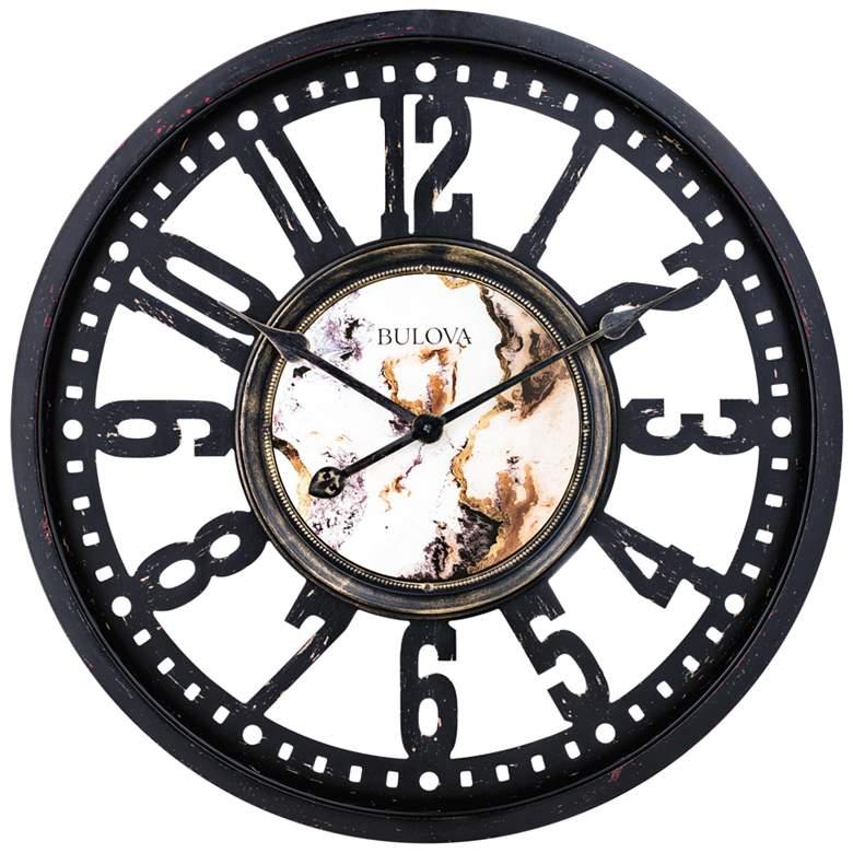 "Bulova Station Master Black 24"" Round Gallery Wall Clock"