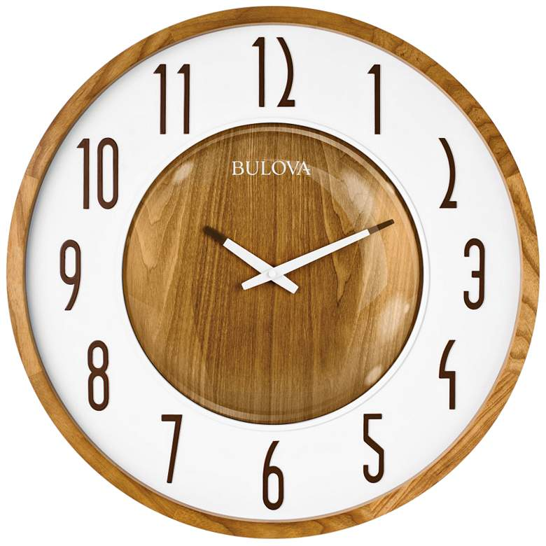 "Bulova Broadway Zebra Hardwood 22"" Round Wall Clock"