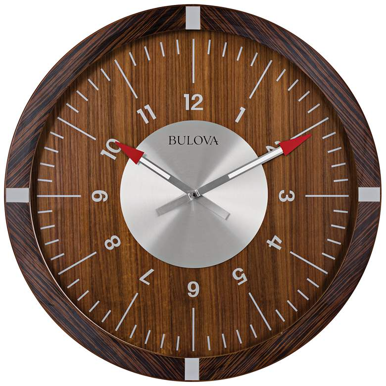 "Bulova Areojet Zebrano Wood 30"" Round Gallery Wall Clock"