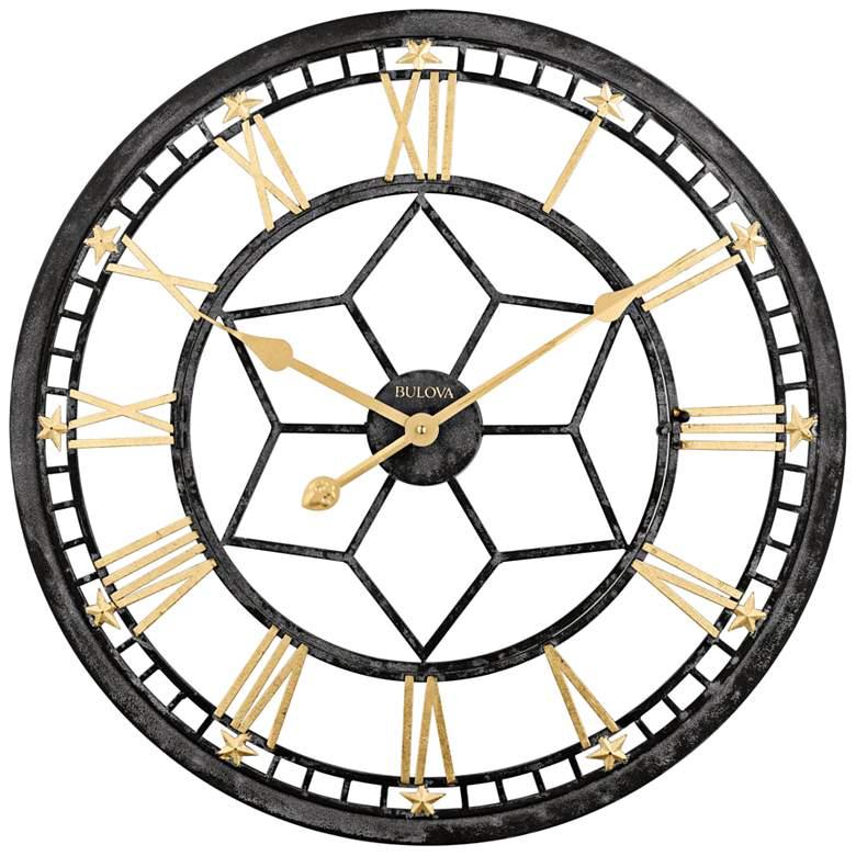 "Bulova Starlight Aged Black 24"" Round Gallery Wall Clock"