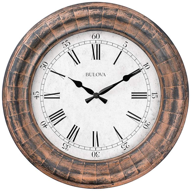 "Bulova Basset Weathered Metal 48"" Round Gallery Wall Clock"