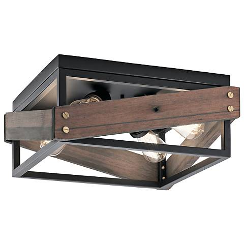 "Kichler Fulton Cross 16"" Wide Black 4-Light Ceiling Light"