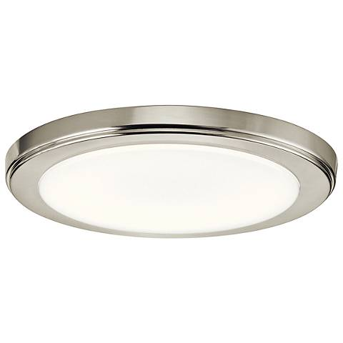 "Zeo 10"" Wide Round Brushed Nickel 4000K LED Ceiling Light"