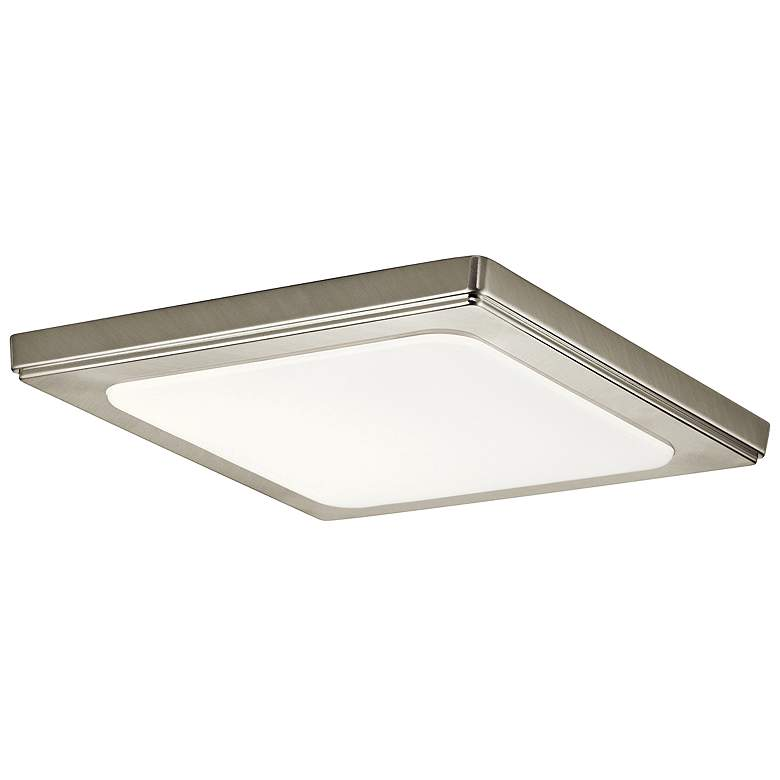 "Zeo 10"" Wide Square Brushed Nickel 3000K LED Ceiling Light"