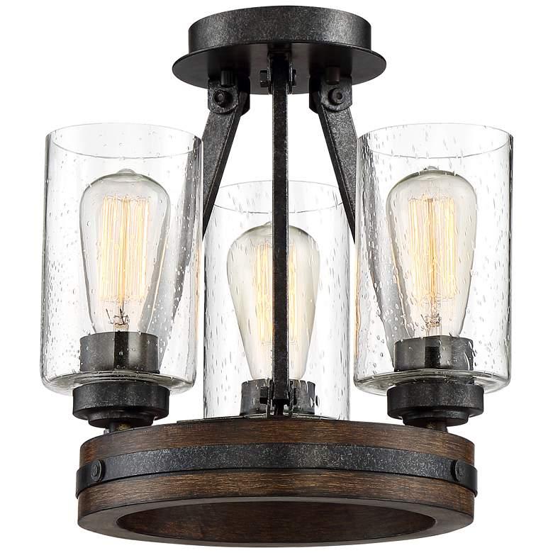 "Gorham 12"" Wide Wood and Metal 3-Light Ceiling Light"