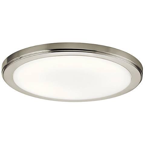 "Zeo 13"" Wide Round Brushed Nickel 3000K LED Ceiling Light"
