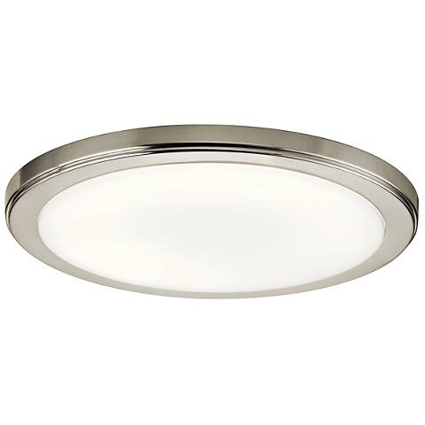 "Zeo 13"" Wide Round Brushed Nickel 4000K LED Ceiling Light"