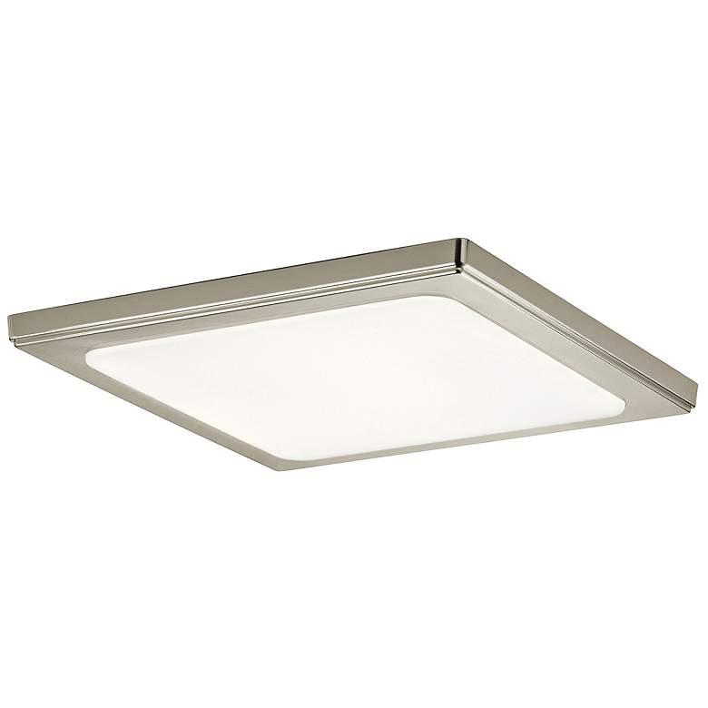 """Zeo 13"""" Wide Square Brushed Nickel 4000K LED Ceiling Light"""