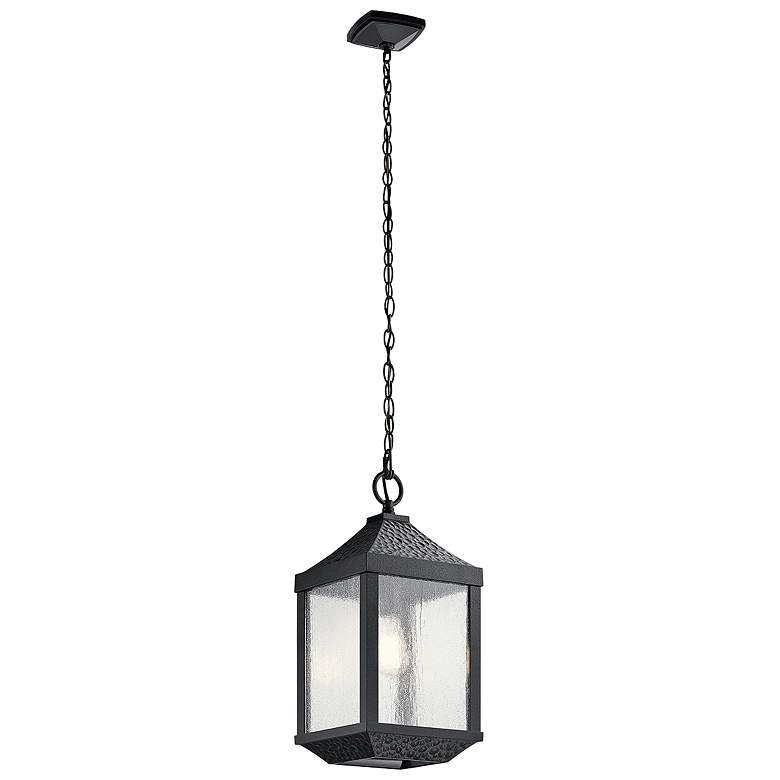 """Springfield 19 1/4""""H Distressed Black Outdoor Hanging Light"""