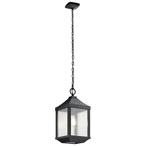 "Springfield 19 1/4""H Distressed Black Outdoor Hanging Light"