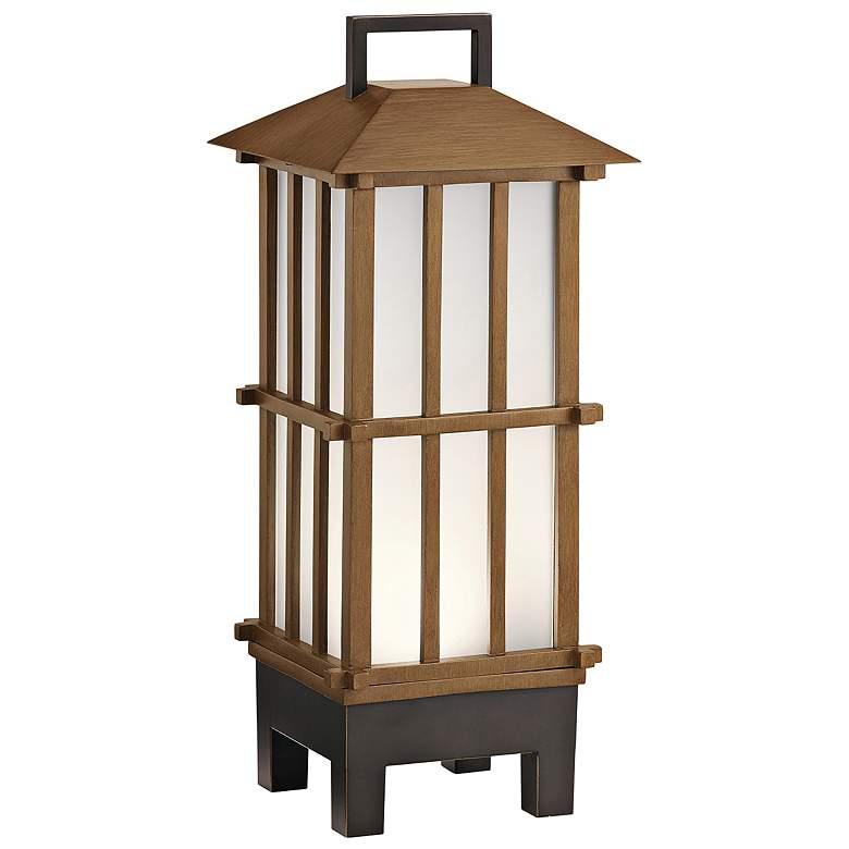 Davis Bamboo Wood LED Portable Lantern w/ Bluetooth