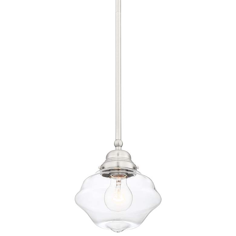 "Abbe 7 1/2"" Wide Brushed Nickel and Clear Glass Mini Pendant"