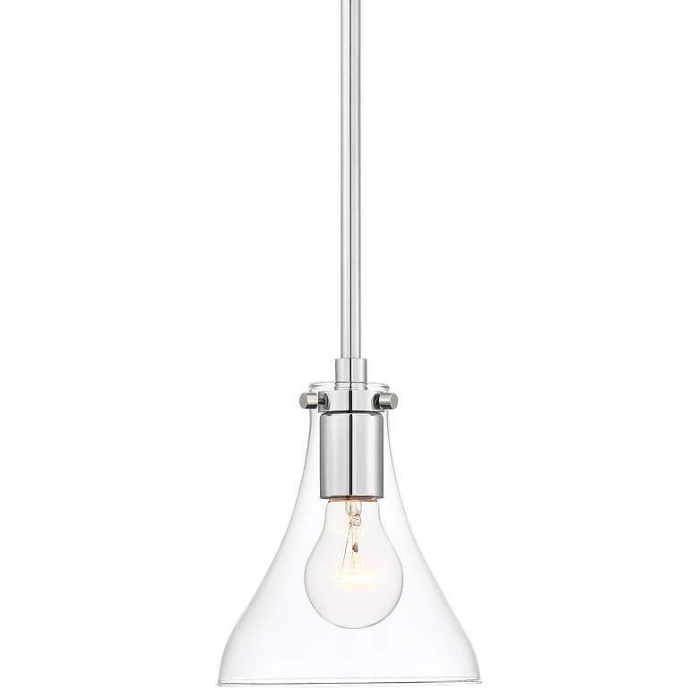 "Possini Euro Crew 6""W Chrome and Clear Glass Mini Pendant"