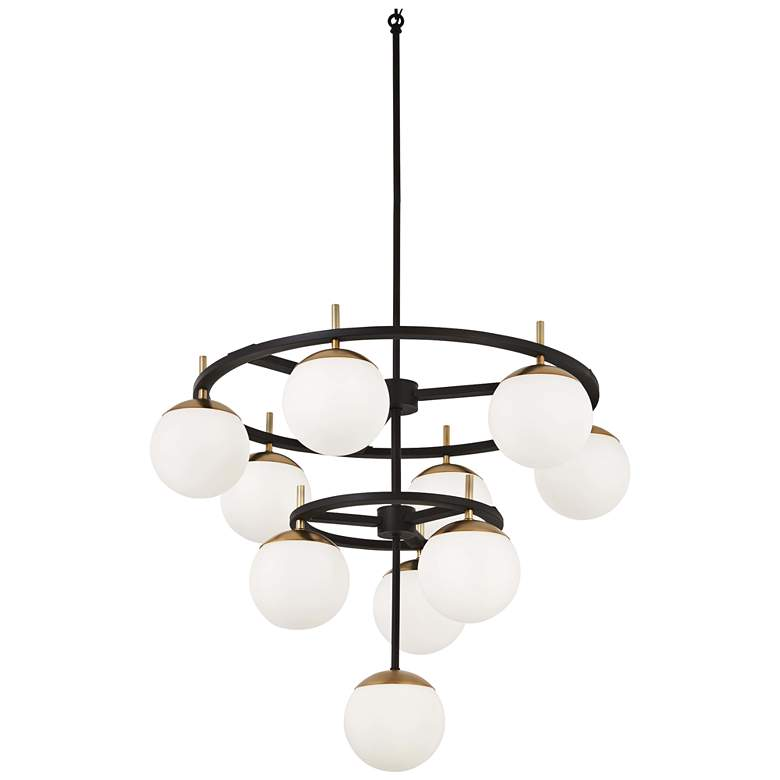 "Alluria 30""W Weathered Black and Gold 10-Light Chandelier"