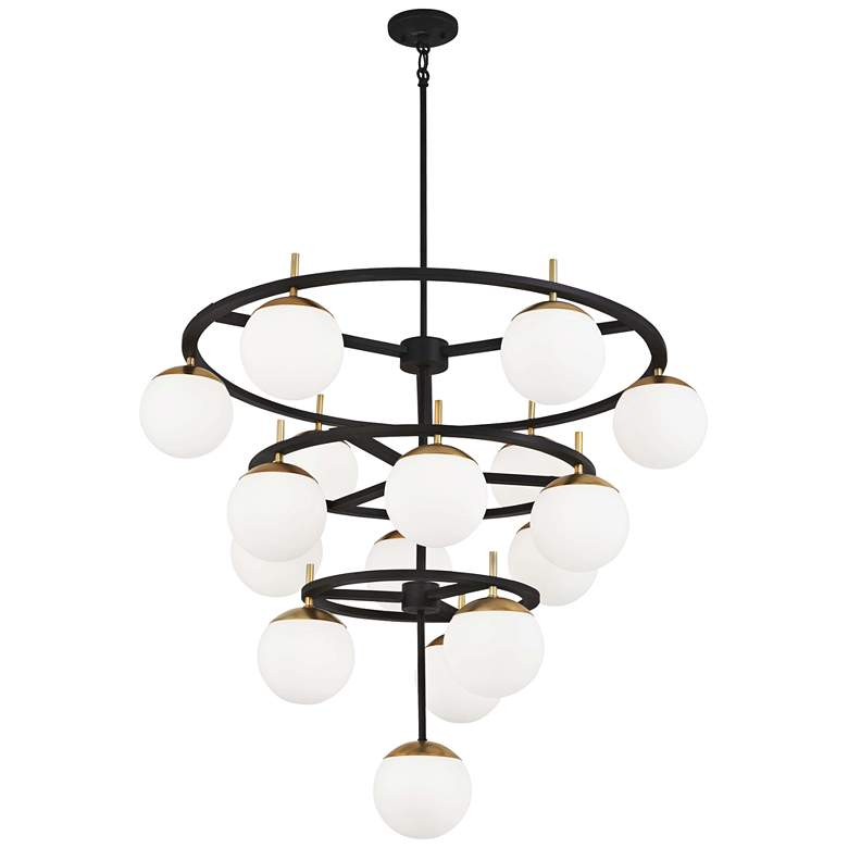 "Alluria 36""W Weathered Black and Gold 16-Light Chandelier"