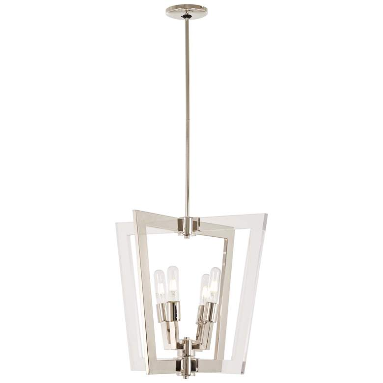 "Crystal Chrome 20"" Wide Polished Nickel 4-Light Pendant"