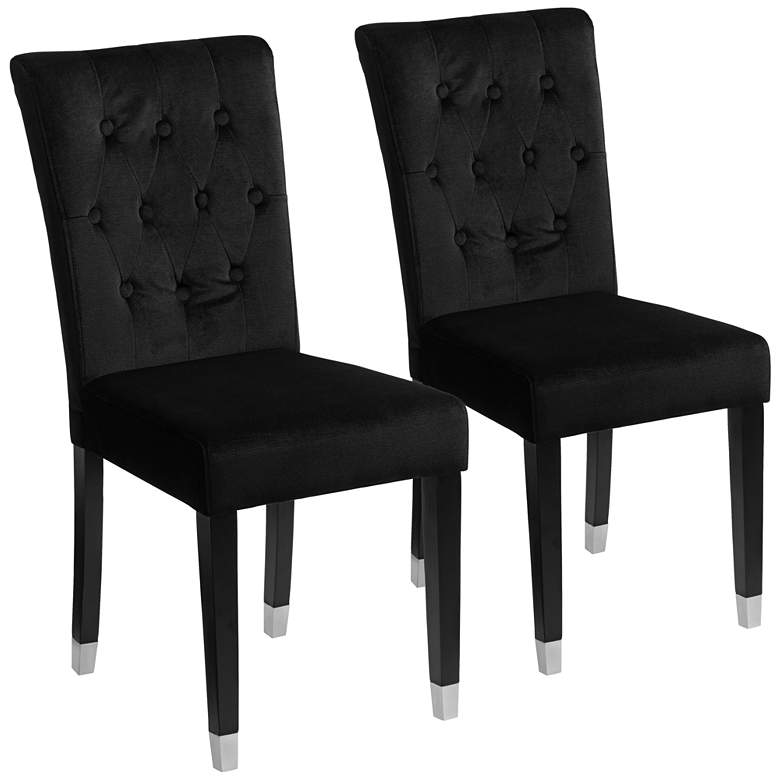 Argyle Black Tufted Armless Dining Chairs Set of 2