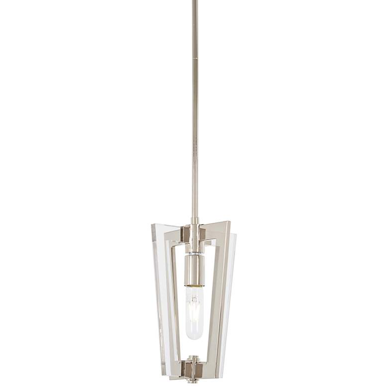 "Crystal Chrome 8"" Wide Polished Nickel Mini Pendant"