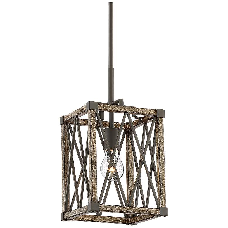 """Timothy 8"""" Wide Bronze and Wood Mini Pendant Light"""