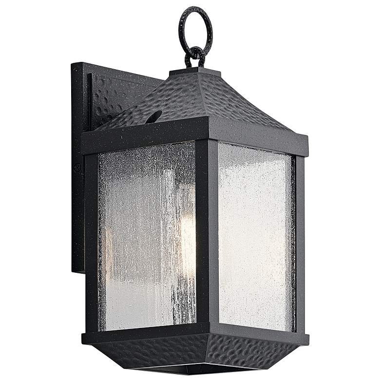 """Springfield 13 1/2"""" High Distressed Black Outdoor Wall Light"""